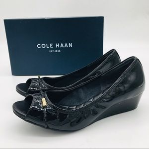 Cole Haan Tali Black Patent Leather Wedge Heels